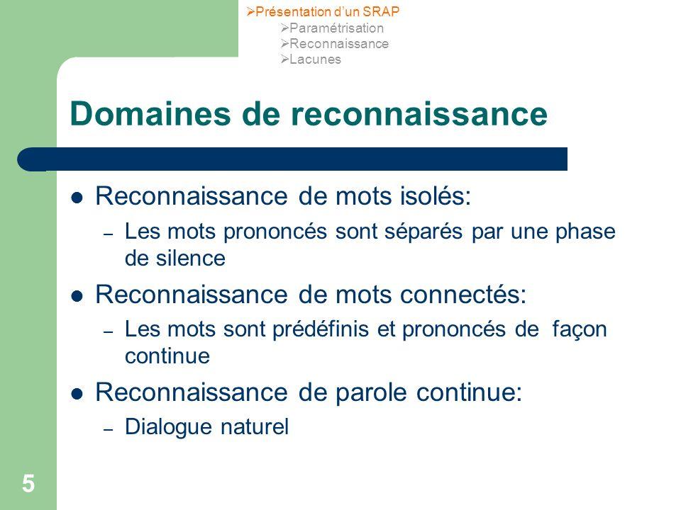 5 Domaines de reconnaissance Reconnaissance de mots isolés: – Les mots prononcés sont séparés par une phase de silence Reconnaissance de mots connecté