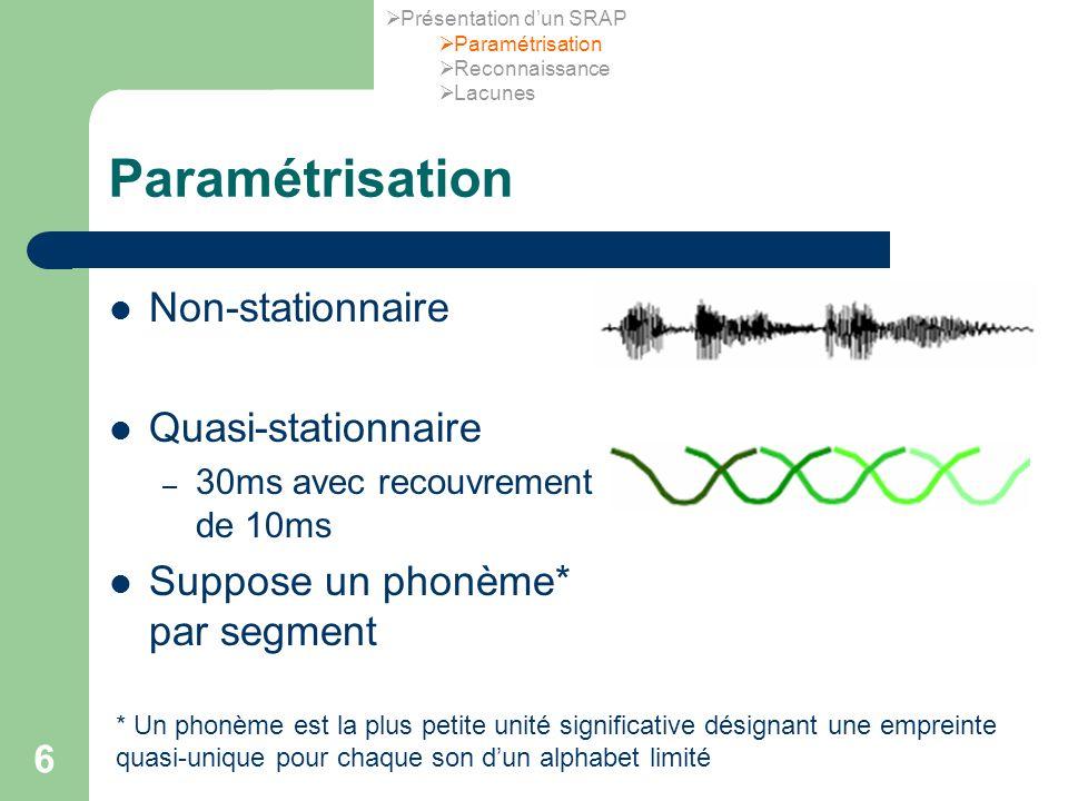 6 Paramétrisation Non-stationnaire Quasi-stationnaire – 30ms avec recouvrement de 10ms Suppose un phonème* par segment * Un phonème est la plus petite