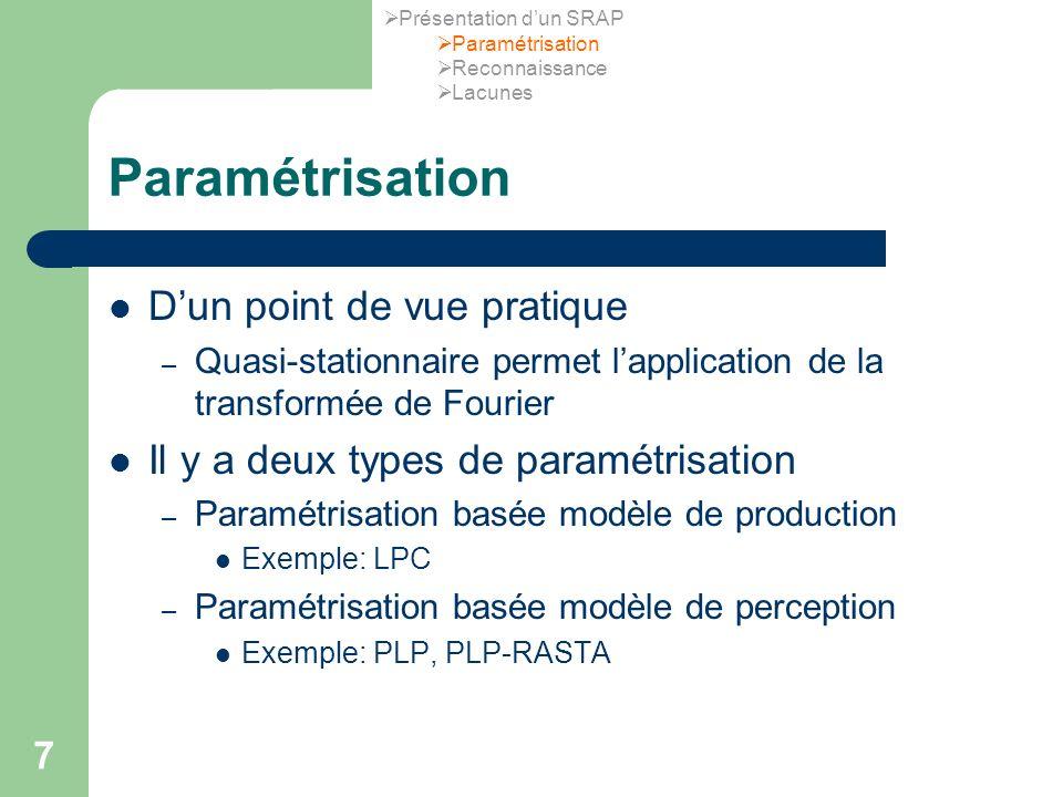 7 Paramétrisation Dun point de vue pratique – Quasi-stationnaire permet lapplication de la transformée de Fourier Il y a deux types de paramétrisation – Paramétrisation basée modèle de production Exemple: LPC – Paramétrisation basée modèle de perception Exemple: PLP, PLP-RASTA Présentation dun SRAP Paramétrisation Reconnaissance Lacunes