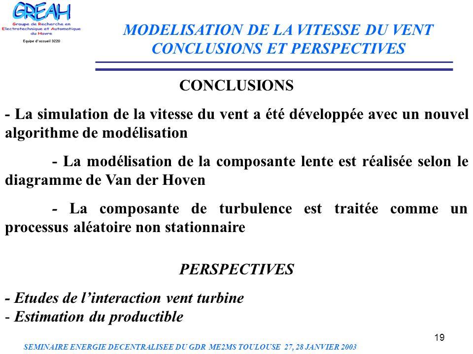 19 CONCLUSIONS - La simulation de la vitesse du vent a été développée avec un nouvel algorithme de modélisation - La modélisation de la composante len