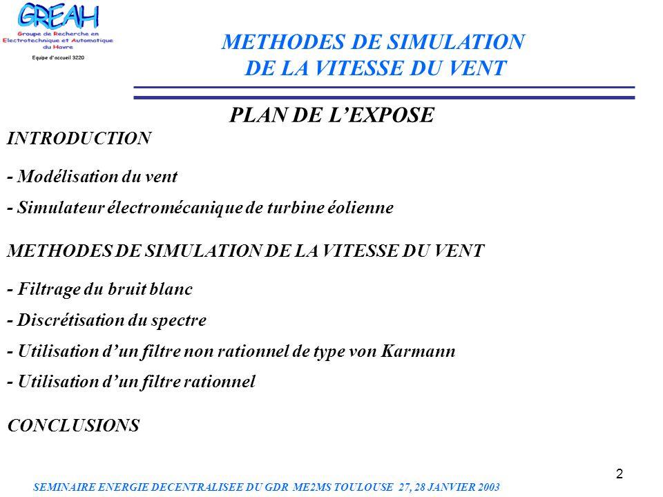 2 METHODES DE SIMULATION DE LA VITESSE DU VENT PLAN DE LEXPOSE INTRODUCTION - Modélisation du vent - Simulateur électromécanique de turbine éolienne M