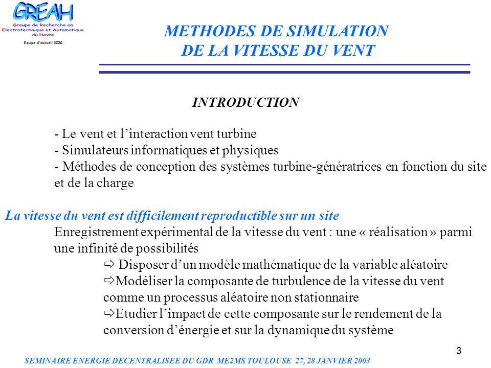 3 METHODES DE SIMULATION DE LA VITESSE DU VENT INTRODUCTION - Le vent et linteraction vent turbine - Simulateurs informatiques et physiques - Méthodes
