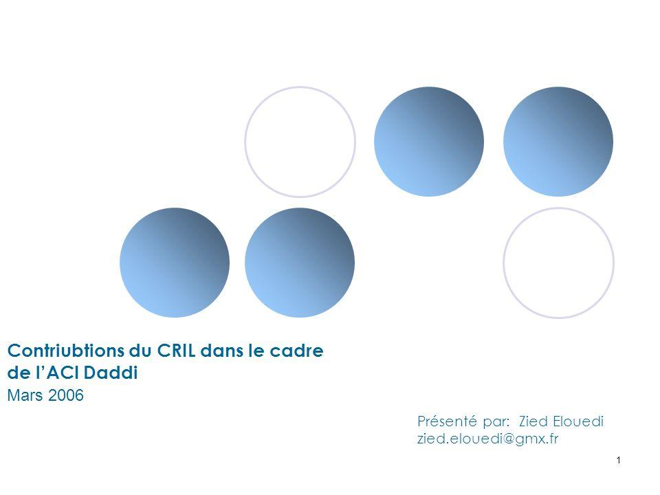 1 Contriubtions du CRIL dans le cadre de lACI Daddi Mars 2006 Présenté par: Zied Elouedi zied.elouedi@gmx.fr