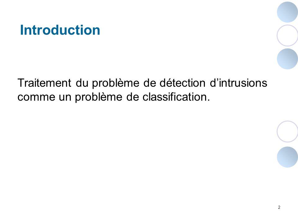 2 Introduction Traitement du problème de détection dintrusions comme un problème de classification.