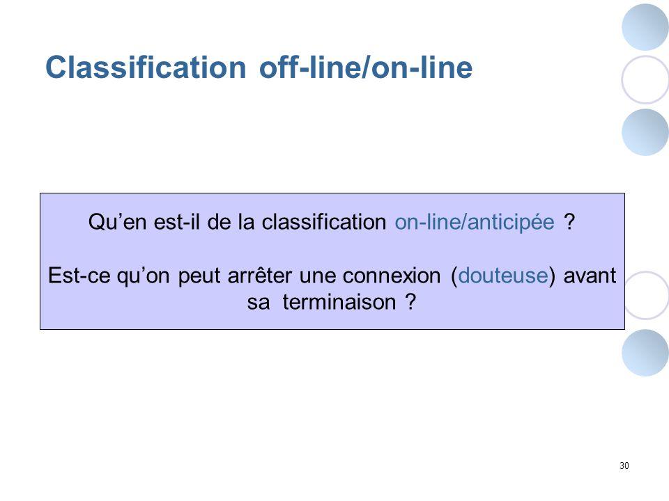 30 Classification off-line/on-line Quen est-il de la classification on-line/anticipée ? Est-ce quon peut arrêter une connexion (douteuse) avant sa ter