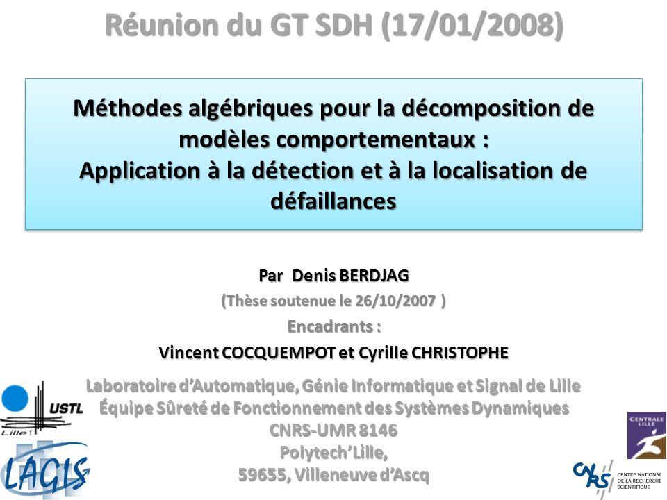 ContexteContexte Constat : – Techniques de surveillance à base de modèles: Plusieurs communautés (SEC, SED,SDH…).