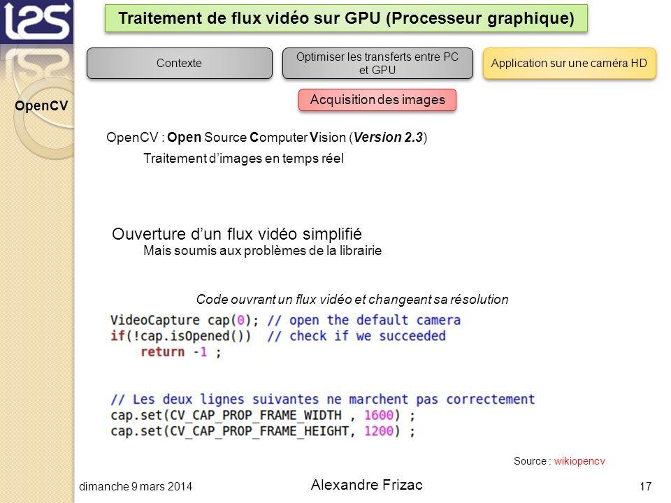 dimanche 9 mars 201417 Alexandre Frizac Traitement de flux vidéo sur GPU (Processeur graphique) OpenCV : Open Source Computer Vision (Version 2.3) Tra