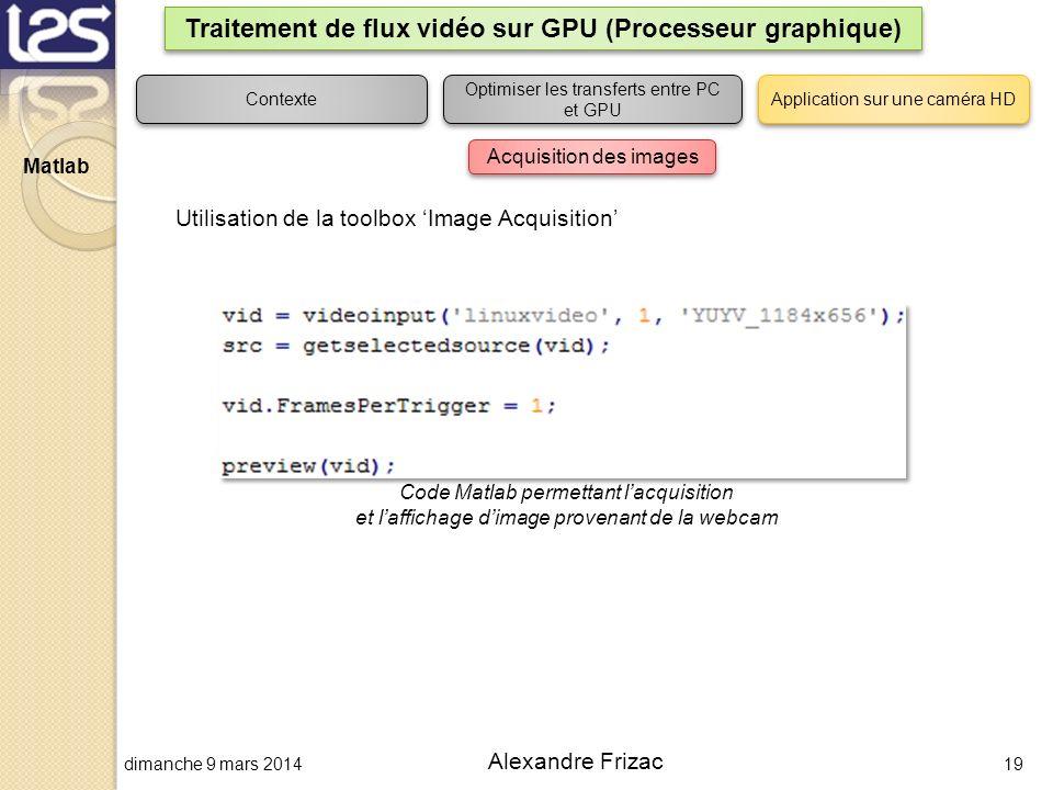 dimanche 9 mars 201419 Alexandre Frizac Traitement de flux vidéo sur GPU (Processeur graphique) Contexte Optimiser les transferts entre PC et GPU Appl