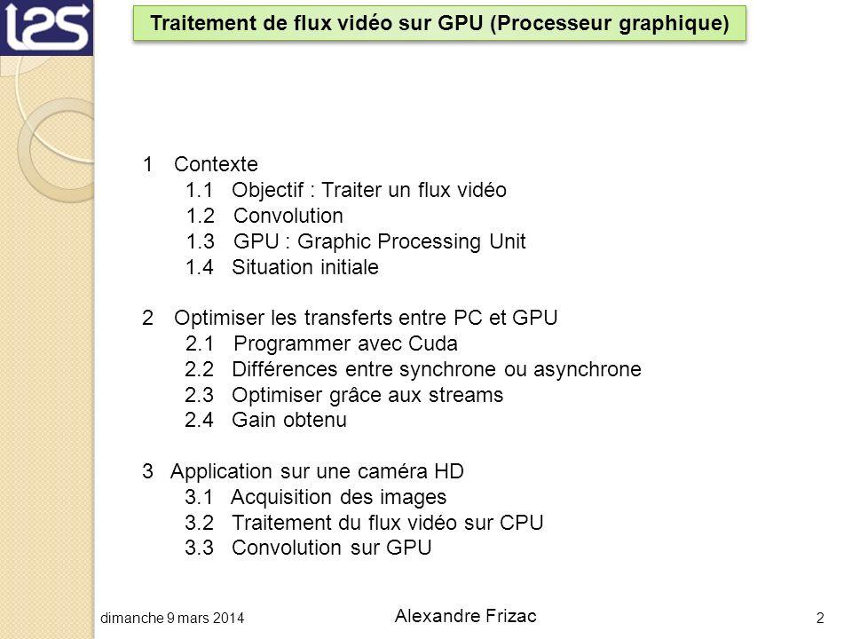dimanche 9 mars 20142 Alexandre Frizac Traitement de flux vidéo sur GPU (Processeur graphique) 1Contexte 1.1 Objectif : Traiter un flux vidéo 1.2 Conv