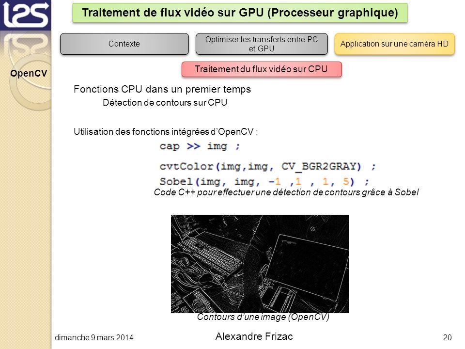 dimanche 9 mars 201420 Alexandre Frizac Traitement de flux vidéo sur GPU (Processeur graphique) Contexte Optimiser les transferts entre PC et GPU Appl