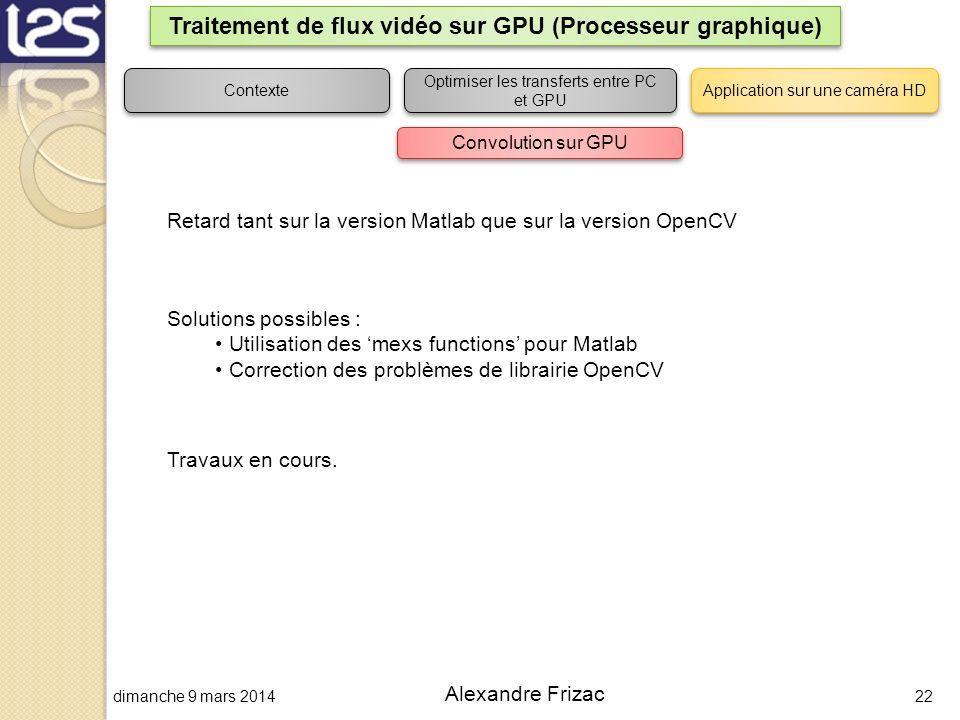dimanche 9 mars 201422 Alexandre Frizac Traitement de flux vidéo sur GPU (Processeur graphique) Contexte Optimiser les transferts entre PC et GPU Appl