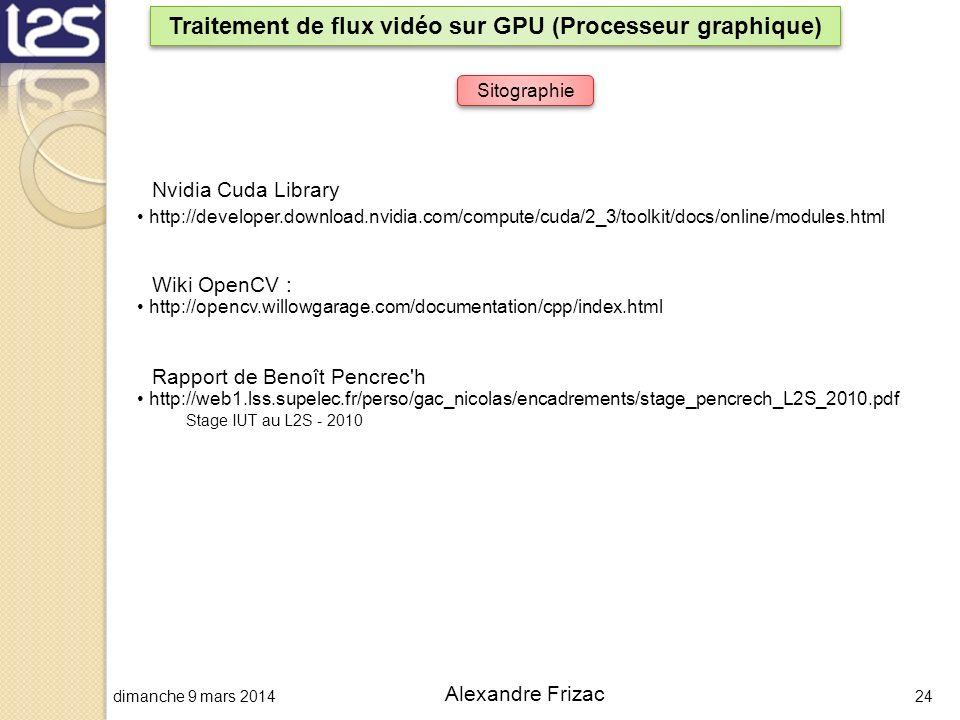 dimanche 9 mars 201424 Alexandre Frizac Traitement de flux vidéo sur GPU (Processeur graphique) Sitographie http://opencv.willowgarage.com/documentati
