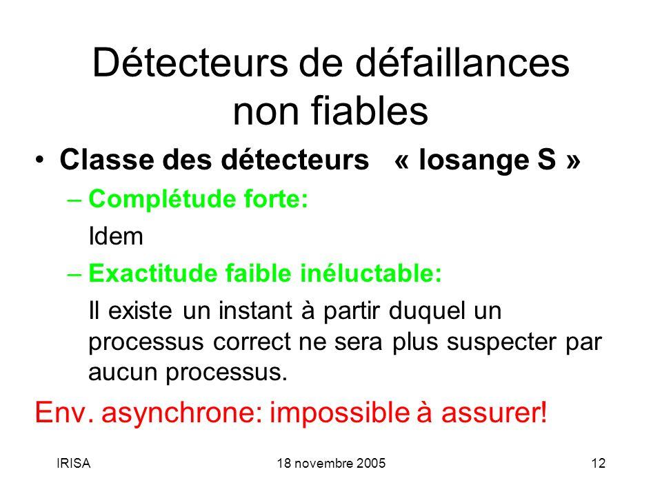 IRISA18 novembre 200512 Détecteurs de défaillances non fiables Classe des détecteurs « losange S » –Complétude forte: Idem –Exactitude faible inéluctable: Il existe un instant à partir duquel un processus correct ne sera plus suspecter par aucun processus.