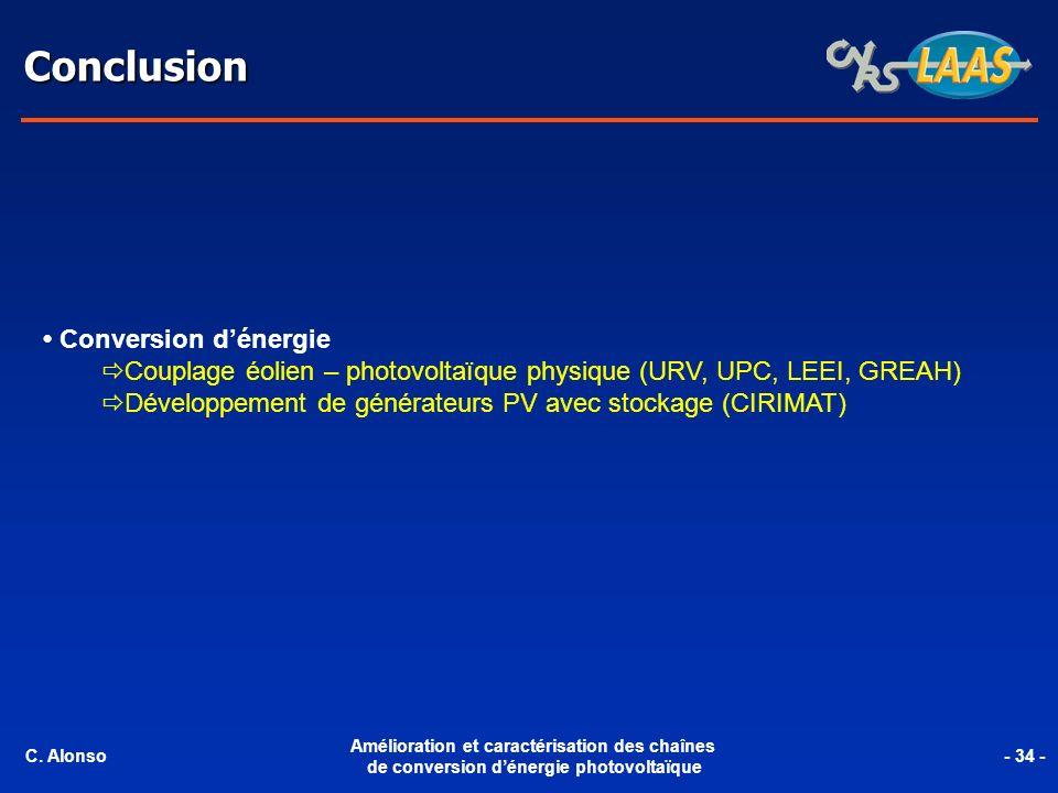 Conclusion Conversion dénergie Couplage éolien – photovoltaïque physique (URV, UPC, LEEI, GREAH) Développement de générateurs PV avec stockage (CIRIMA