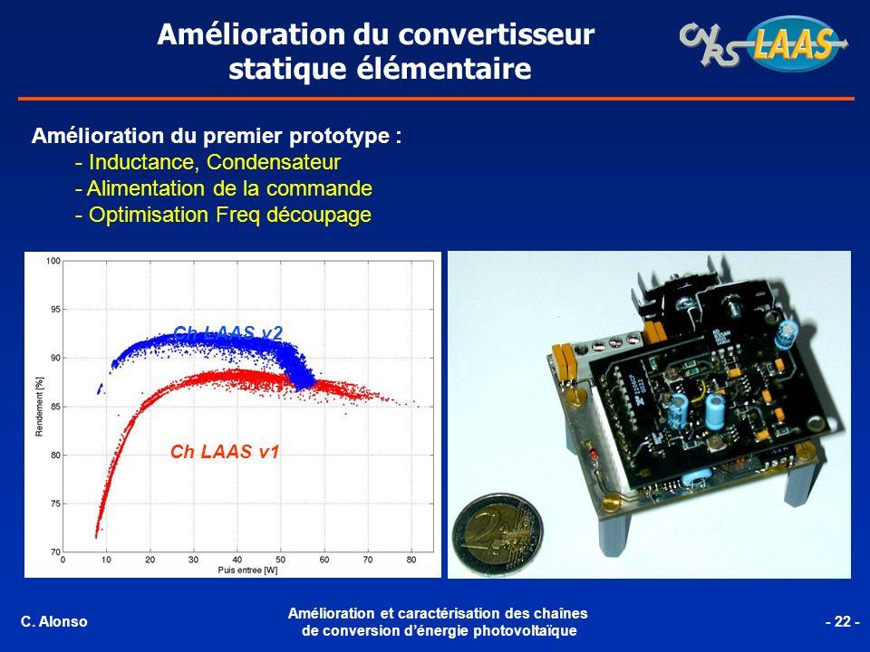 Amélioration du convertisseur statique élémentaire Amélioration du premier prototype : - Inductance, Condensateur - Alimentation de la commande - Opti