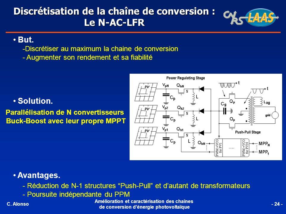 But. -Discrétiser au maximum la chaine de conversion - Augmenter son rendement et sa fiabilité Solution. Parallélisation de N convertisseurs Buck-Boos