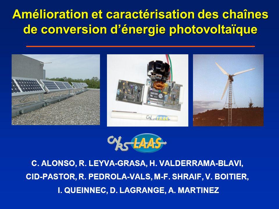 Amélioration et caractérisation des chaînes de conversion dénergie photovoltaïque C. ALONSO, R. LEYVA-GRASA, H. VALDERRAMA-BLAVI, CID-PASTOR, R. PEDRO
