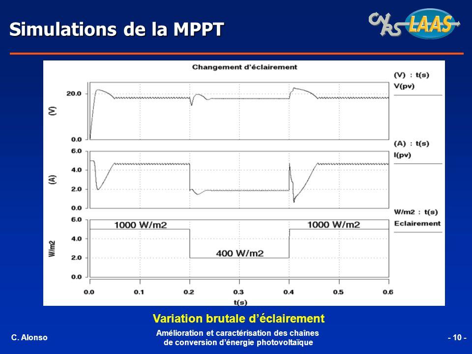 Simulations de la MPPT Variation brutale déclairement C. Alonso Amélioration et caractérisation des chaînes de conversion dénergie photovoltaïque - 10