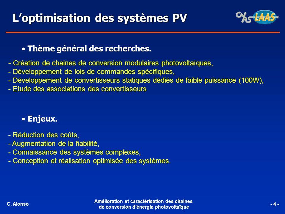 Loptimisation des systèmes PV - Réduction des coûts, - Augmentation de la fiabilité, - Connaissance des systèmes complexes, - Conception et réalisation optimisée des systèmes.