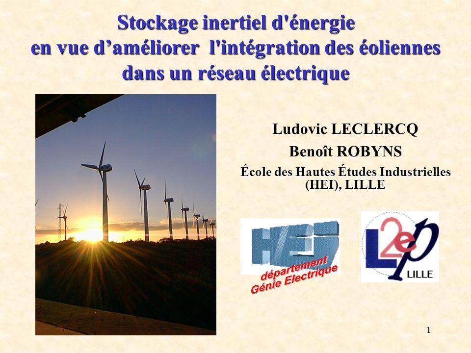 1 Stockage inertiel d'énergie en vue daméliorer l'intégration des éoliennes dans un réseau électrique Ludovic LECLERCQ Benoît ROBYNS École des Hautes