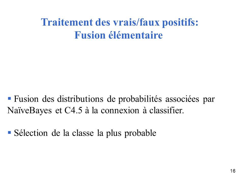 16 Fusion des distributions de probabilités associées par NaïveBayes et C4.5 à la connexion à classifier. Sélection de la classe la plus probable Trai
