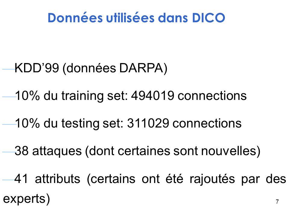 7 KDD99 (données DARPA) 10% du training set: 494019 connections 10% du testing set: 311029 connections 38 attaques (dont certaines sont nouvelles) 41