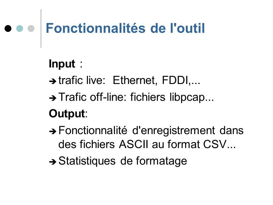 Fonctionnalités de l outil Input : trafic live: Ethernet, FDDI,...