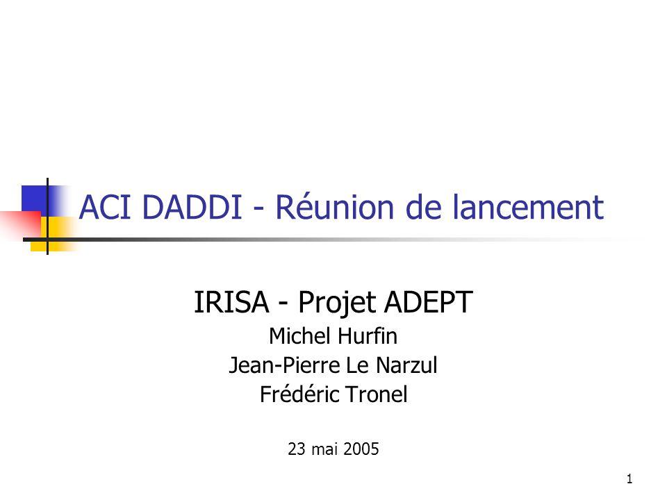 1 ACI DADDI - Réunion de lancement IRISA - Projet ADEPT Michel Hurfin Jean-Pierre Le Narzul Frédéric Tronel 23 mai 2005