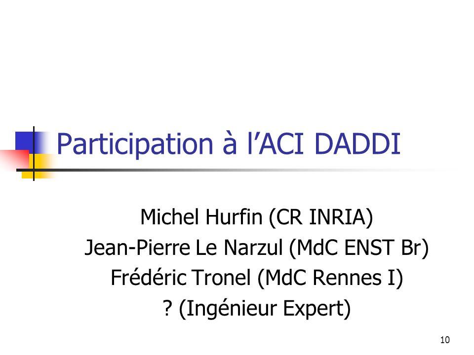 10 Participation à lACI DADDI Michel Hurfin (CR INRIA) Jean-Pierre Le Narzul (MdC ENST Br) Frédéric Tronel (MdC Rennes I) ? (Ingénieur Expert)