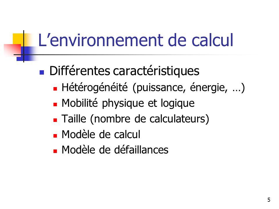 5 Lenvironnement de calcul Différentes caractéristiques Hétérogénéité (puissance, énergie, …) Mobilité physique et logique Taille (nombre de calculate