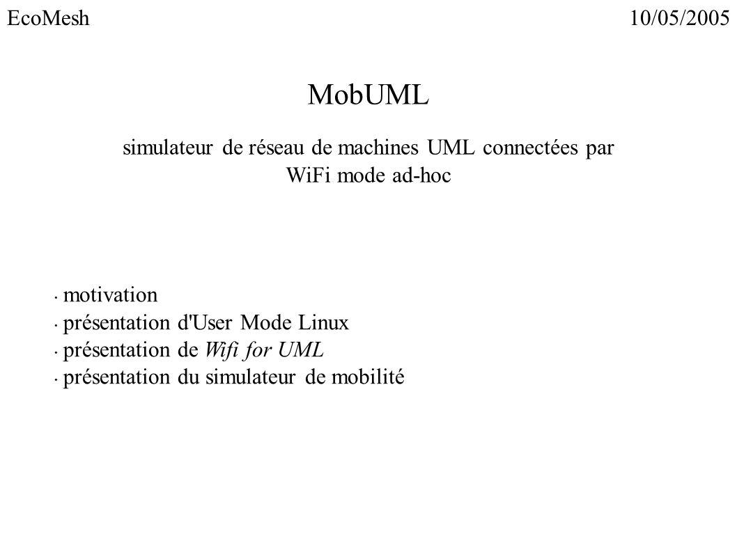 MobUML simulateur de réseau de machines UML connectées par WiFi mode ad-hoc motivation présentation d'User Mode Linux présentation de Wifi for UML pré