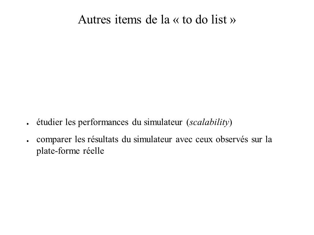 Autres items de la « to do list » étudier les performances du simulateur (scalability) comparer les résultats du simulateur avec ceux observés sur la