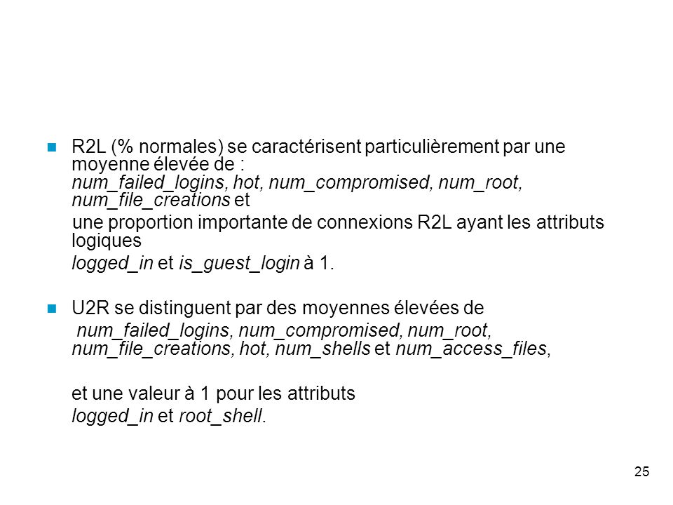 25 R2L (% normales) se caractérisent particulièrement par une moyenne élevée de : num_failed_logins, hot, num_compromised, num_root, num_file_creations et une proportion importante de connexions R2L ayant les attributs logiques logged_in et is_guest_login à 1.