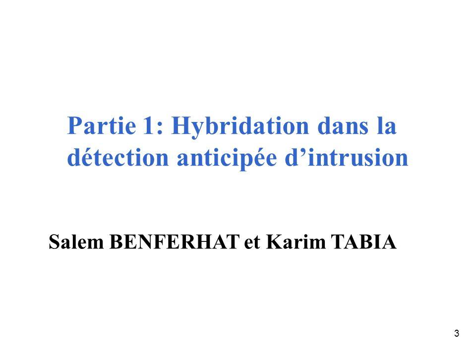 3 Partie 1: Hybridation dans la détection anticipée dintrusion Salem BENFERHAT et Karim TABIA