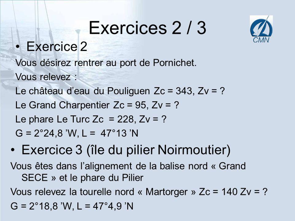 Exercices 2 / 3 Exercice 2 Vous désirez rentrer au port de Pornichet. Vous relevez : Le château deau du Pouliguen Zc = 343, Zv = ? Le Grand Charpentie