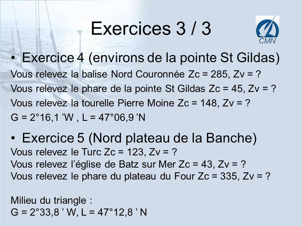 Exercices 3 / 3 Exercice 4 (environs de la pointe St Gildas) Vous relevez la balise Nord Couronnée Zc = 285, Zv = ? Vous relevez le phare de la pointe
