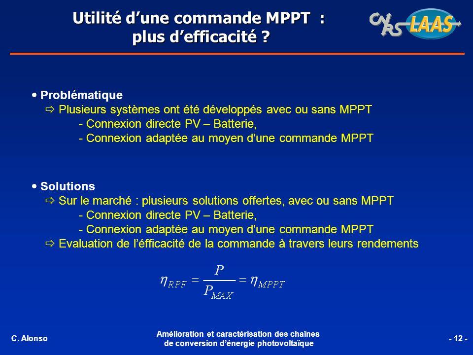 Chaine de conversion élémentaire dun générateur PV de 85W pic Avec sa IMPPT (LAAS-CNRS).