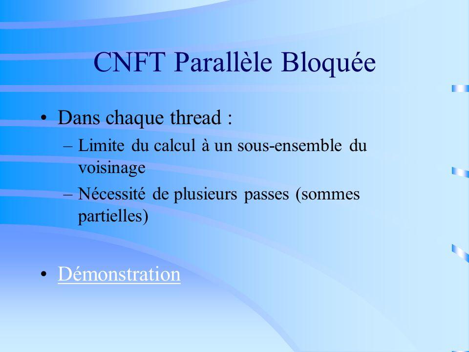 CNFT Parallèle Bloquée Dans chaque thread : –Limite du calcul à un sous-ensemble du voisinage –Nécessité de plusieurs passes (sommes partielles) Démon