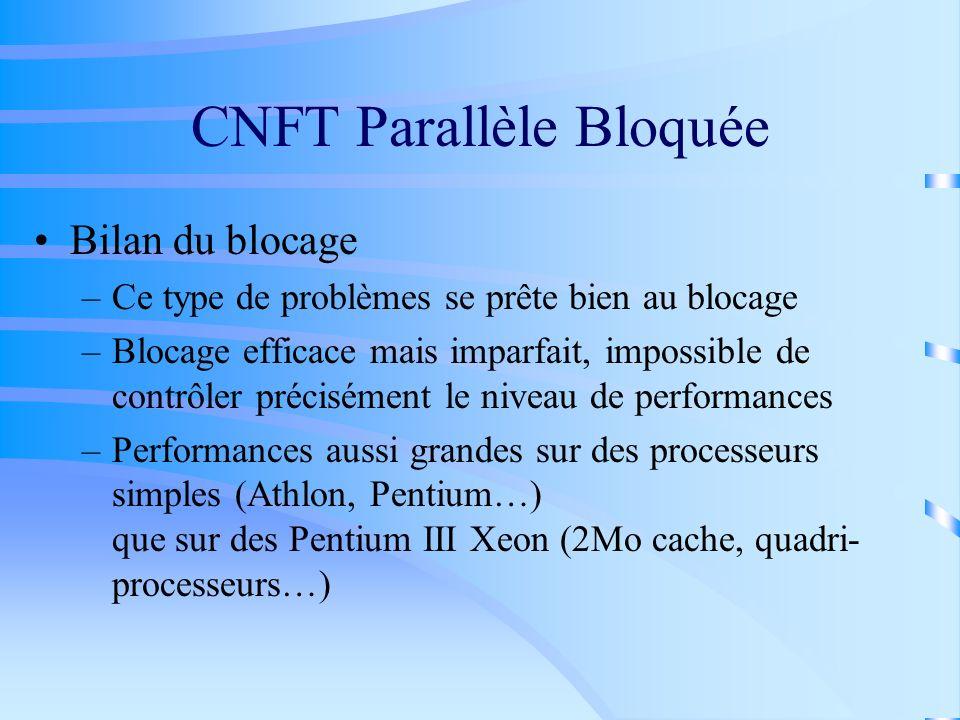 CNFT Parallèle Bloquée Bilan du blocage –Ce type de problèmes se prête bien au blocage –Blocage efficace mais imparfait, impossible de contrôler préci