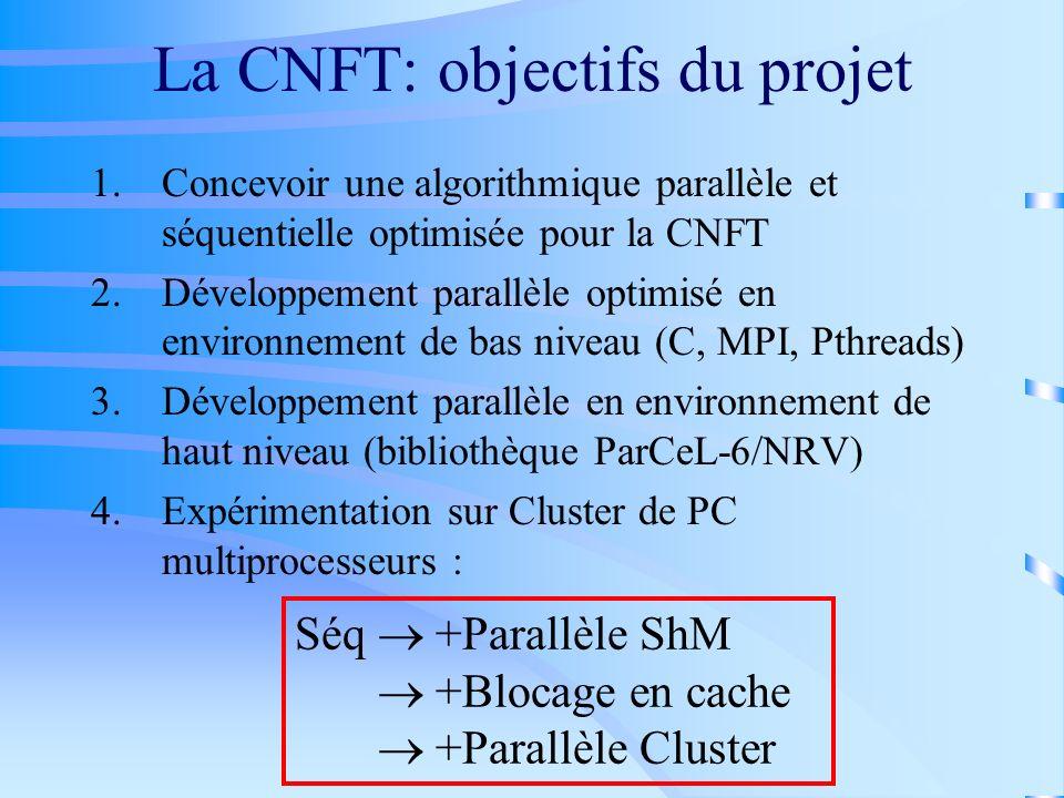 La CNFT: objectifs du projet 1.Concevoir une algorithmique parallèle et séquentielle optimisée pour la CNFT 2.Développement parallèle optimisé en envi