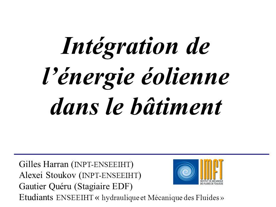 Intégration de lénergie éolienne dans le bâtiment Gilles Harran ( INPT-ENSEEIHT ) Alexei Stoukov ( INPT-ENSEEIHT ) Gautier Quéru (Stagiaire EDF) Etudi