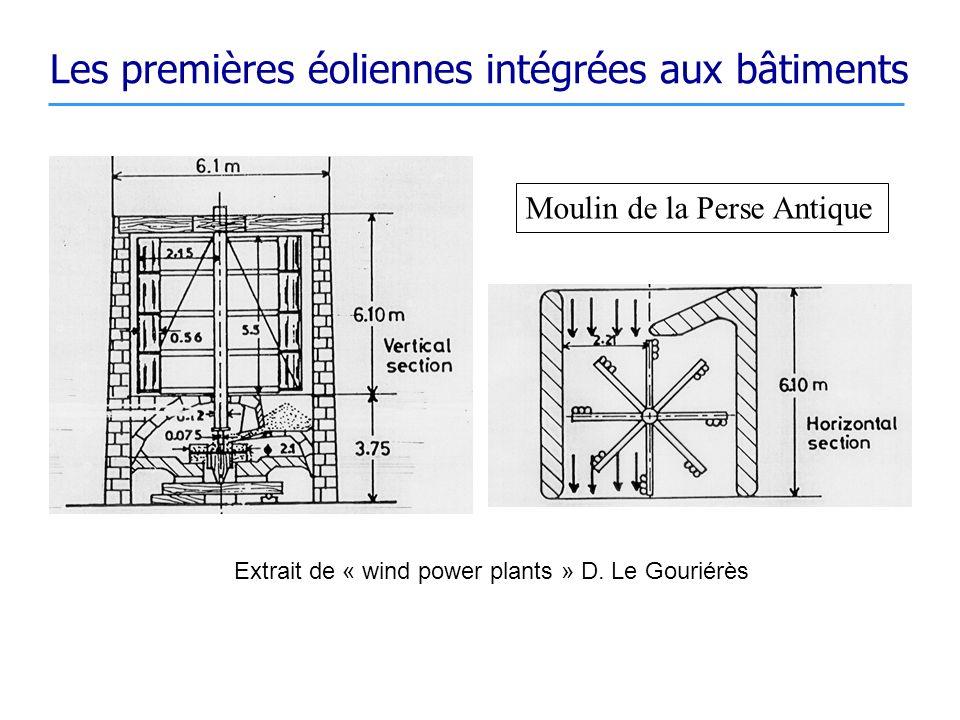 Les premières éoliennes intégrées aux bâtiments Extrait de « wind power plants » D. Le Gouriérès Moulin de la Perse Antique