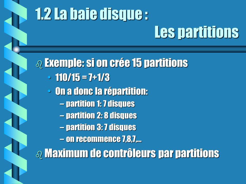 1.2 La baie disque : Les partitions b Exemple: si on crée 15 partitions 110/15 = 7+1/3110/15 = 7+1/3 On a donc la répartition:On a donc la répartition