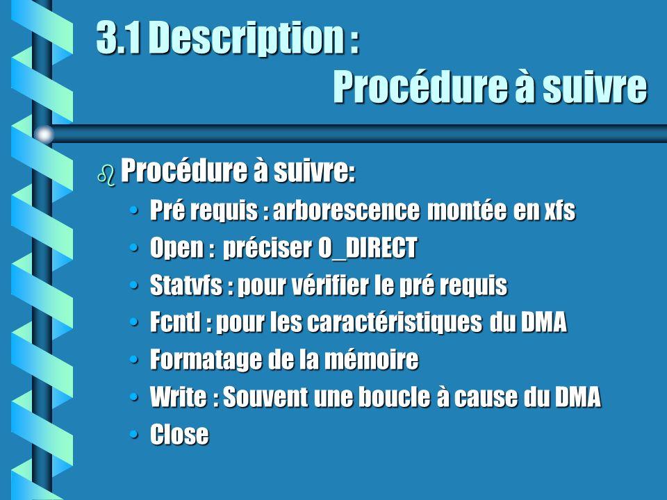 3.1 Description : Procédure à suivre b Procédure à suivre: Pré requis : arborescence montée en xfsPré requis : arborescence montée en xfs Open : préciser O_DIRECTOpen : préciser O_DIRECT Statvfs : pour vérifier le pré requisStatvfs : pour vérifier le pré requis Fcntl : pour les caractéristiques du DMAFcntl : pour les caractéristiques du DMA Formatage de la mémoireFormatage de la mémoire Write : Souvent une boucle à cause du DMAWrite : Souvent une boucle à cause du DMA CloseClose