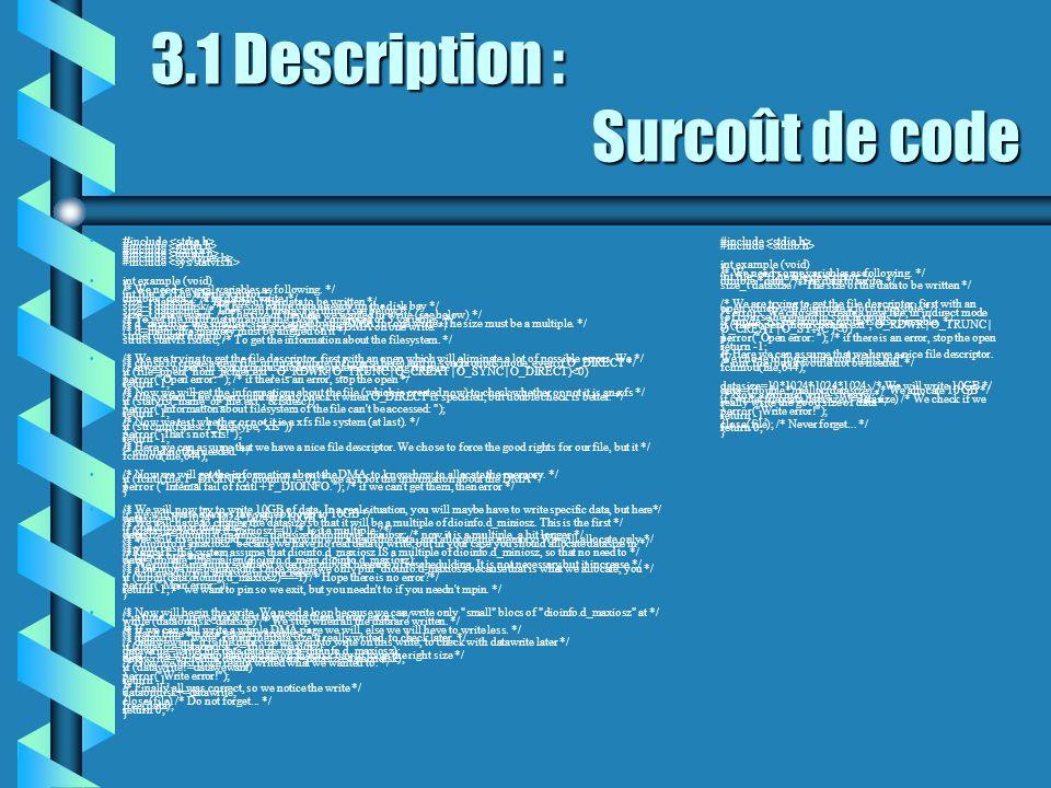 3.1 Description : Surcoût de code # include #include #include #include #include #include int example (void) { /* We need several variables as followin