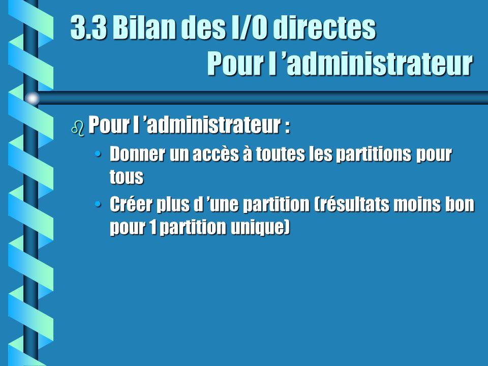 3.3 Bilan des I/O directes Pour l administrateur b Pour l administrateur : Donner un accès à toutes les partitions pour tousDonner un accès à toutes les partitions pour tous Créer plus d une partition (résultats moins bon pour 1 partition unique)Créer plus d une partition (résultats moins bon pour 1 partition unique)
