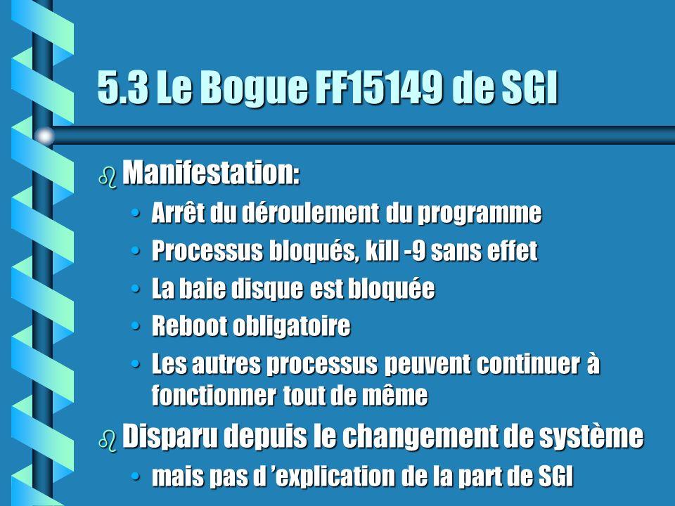 5.3 Le Bogue FF15149 de SGI b Manifestation: Arrêt du déroulement du programmeArrêt du déroulement du programme Processus bloqués, kill -9 sans effetProcessus bloqués, kill -9 sans effet La baie disque est bloquéeLa baie disque est bloquée Reboot obligatoireReboot obligatoire Les autres processus peuvent continuer à fonctionner tout de mêmeLes autres processus peuvent continuer à fonctionner tout de même b Disparu depuis le changement de système mais pas d explication de la part de SGImais pas d explication de la part de SGI