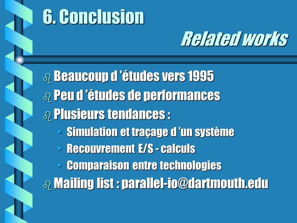 6. Conclusion Related works b Beaucoup d études vers 1995 b Peu d études de performances b Plusieurs tendances : Simulation et traçage d un systèmeSim