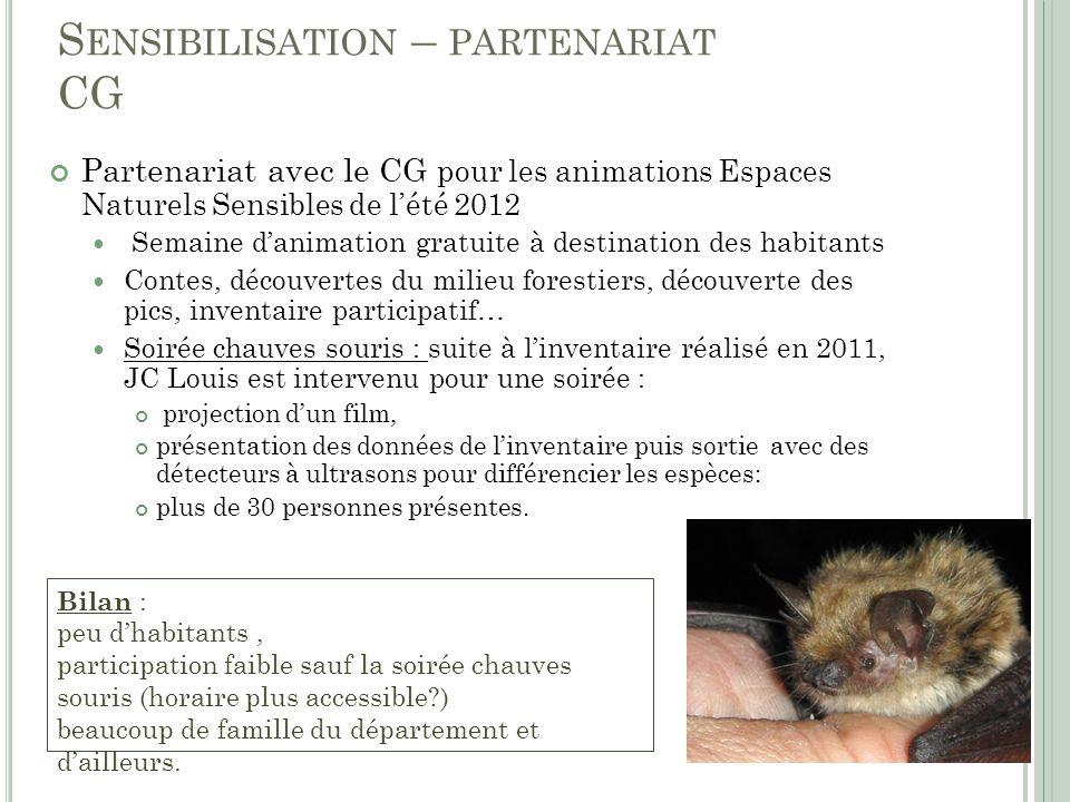 S ENSIBILISATION – PARTENARIAT CG Partenariat avec le CG pour les animations Espaces Naturels Sensibles de lété 2012 Semaine danimation gratuite à des