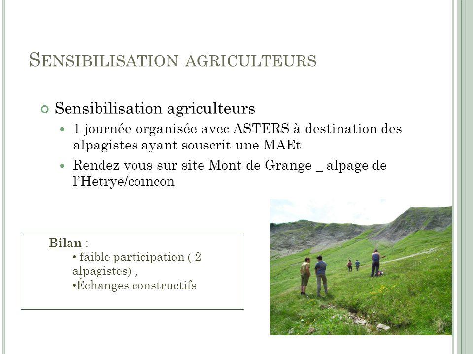 S ENSIBILISATION AGRICULTEURS Sensibilisation agriculteurs 1 journée organisée avec ASTERS à destination des alpagistes ayant souscrit une MAEt Rendez